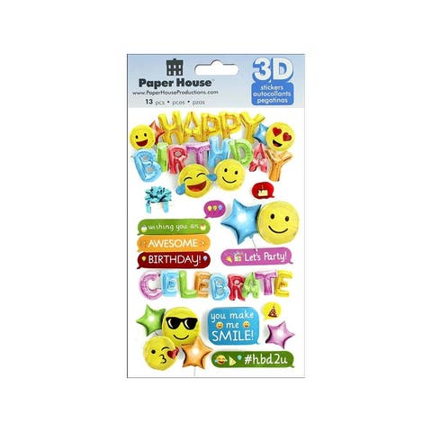 Stdm-0293e paper house sticker 3d emoji birthday