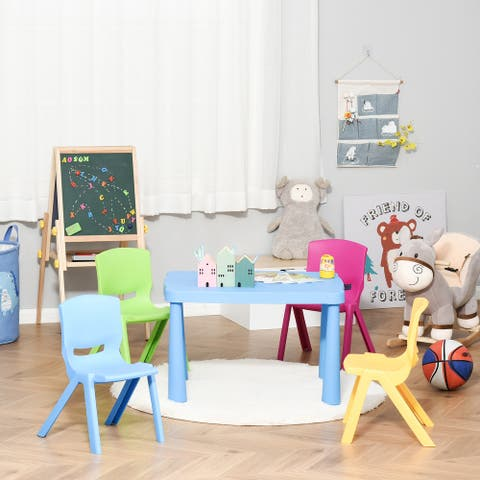 """Qaba Kids Table and Chair Set 5 Piece Toddler Stackable Furniture, Multicolor - 30.25"""" x 21.75"""" x 19.25"""""""