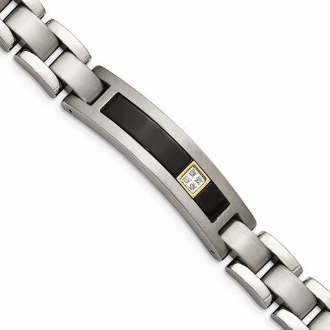 Chisel Titanium and 14K Yellow Gold Polished, Brushed with Black Onyx 0.05cttw. Diamond 8-inch Bracelet