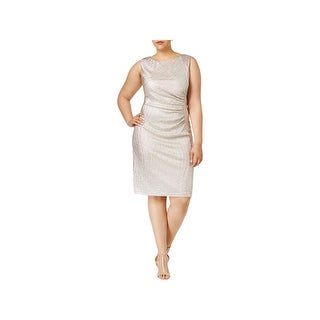 Calvin Klein Womens Plus Party Dress Metallic Ruched
