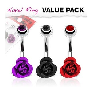 3 Pcs Pack of Purple, Black, and Red Color CZ Top Colored Metal Flower Navel Belly Button Ring