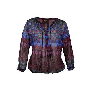 Lucky Brand Women's Trendy Plus Size Printed Blouse - Black/multi