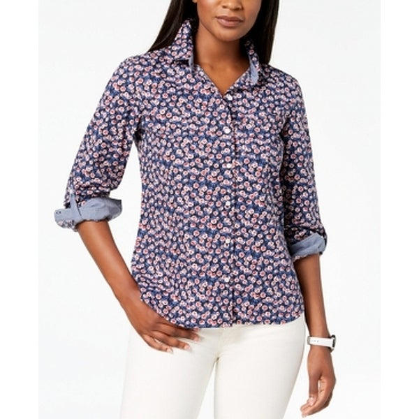 7cade435 Shop Tommy Hilfiger Blue Womens Size Large L Floral Button Down Shirt -  Free Shipping On Orders Over $45 - Overstock - 27755822