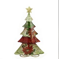 """18.25"""" Green, Red and Off White Tin Vintage Postcard Christmas Tree Table Top Christmas Decoration"""