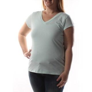 Womens Green Short Sleeve V Neck Casual T-Shirt Top Size XL
