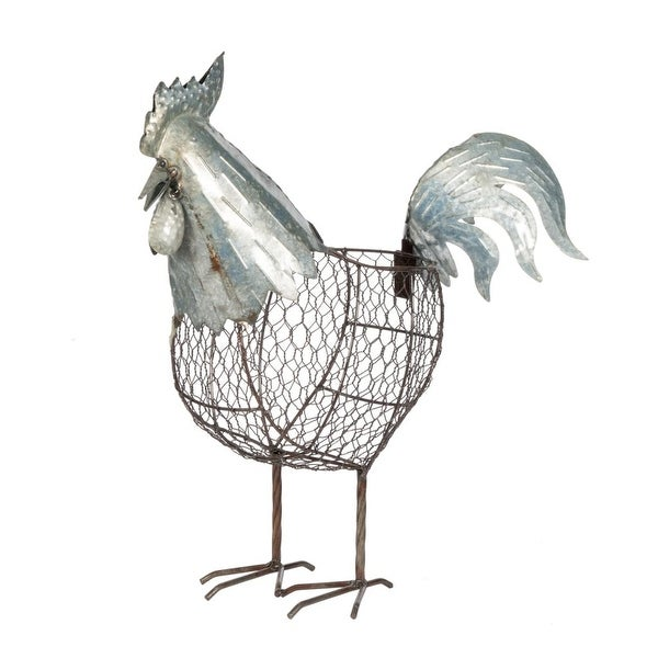 "18.25"" White and Brown Rustic Finish Metal Rooster - N/A"