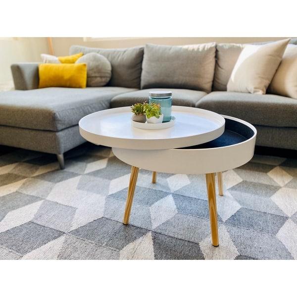 Zoe Mid Century Round Coffee Table With Storage White Overstock 31022642 Black Mdf