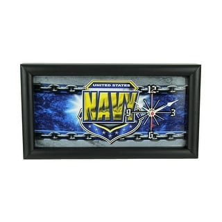 US Navy Military License Plate Mantel or Wall Clock - 7 X 13 X 1.5 inches
