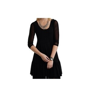 Roper Western Dress Womens Sheer 3/4 Sleeve Black