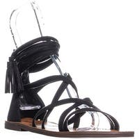 XOXO Cierra Zip Up Gladiator Sandals, Black