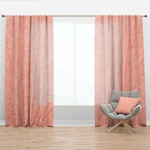 Designart 'Living Coral Pink' Mid-Century Modern Curtain Panel