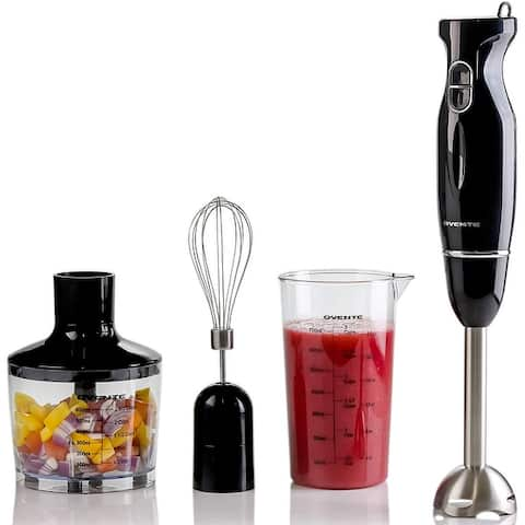 Ovente Immersion Hand Blender Set with Stainless Steel Blades, Egg Whisk Attachment, Mixing Beaker and BPA-Free Food Chopper