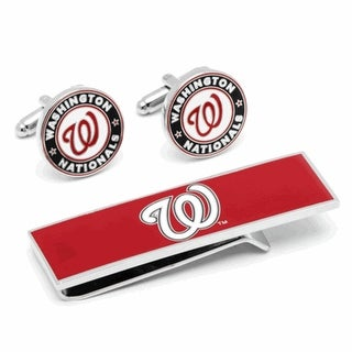 Washington Nationals Cufflinks and Money Clip Gift Set MLB - Red