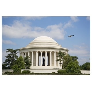 """""""Helicopter flying over Jefferson Memorial, Washington DC, United States"""" Poster Print"""