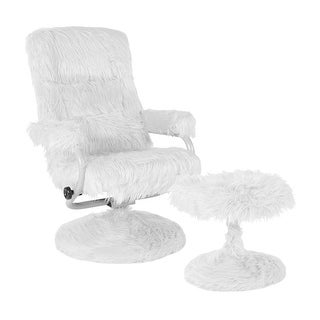Offex East Side Contemporary Swivel Recliner and Ottoman in White Fur
