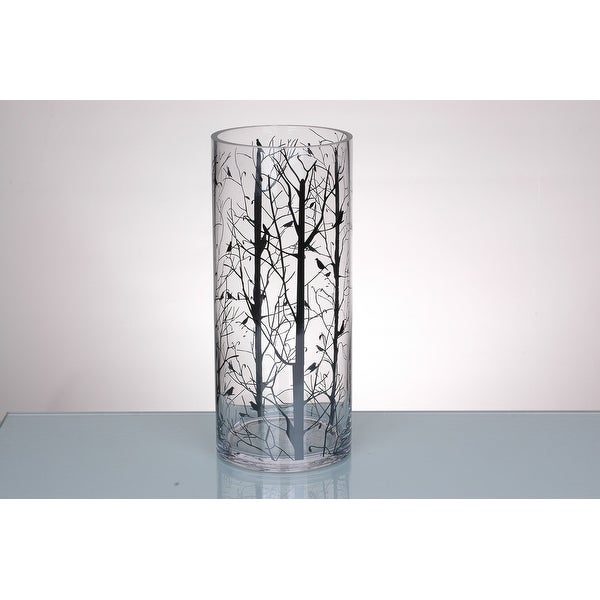 """14"""" Clear Cylindrical Glass Vase with Printed Branches Design - N/A"""