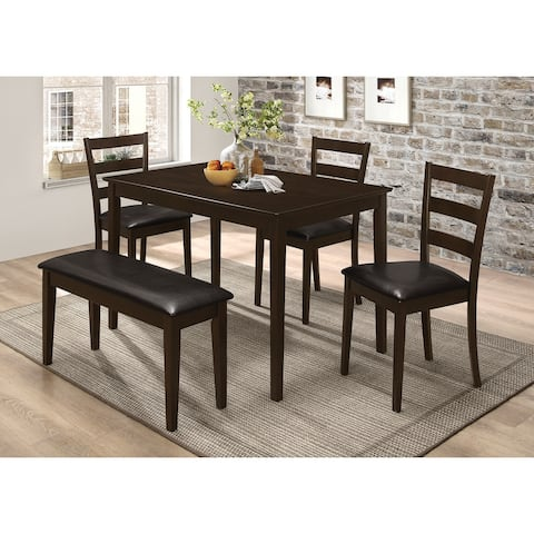 Arvin Cappuccino 5 Piece Dining Set with Bench