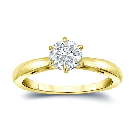 Auriya 14k Gold 2ctw Solitaire Moissanite Engagement Ring 6-Prong