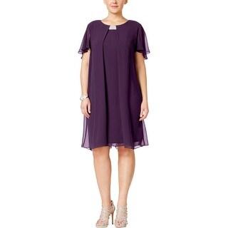 MSK Women Womens Plus Cocktail Dress Embellished Chiffon