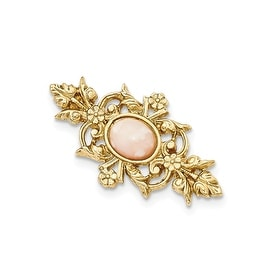 Goldtone Downton Abbey Acrylic Peach Quartz Pin