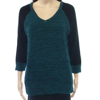 Romeo + Juliet NEW Blue Teal Colorblocked Women Medium M V-Neck Sweater