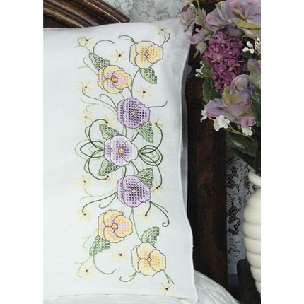 "Stamped Perle Edge Pillowcases 30""X20"" 2/Pkg-Pansy"