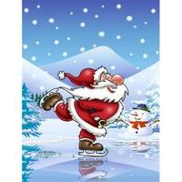 Christmas Santa Claus Ice Skating Flag Garden Size