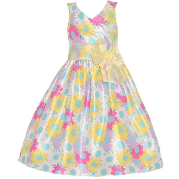 aad70647fe361 Mia Juliana Little Girls Yellow Flower Print Ribbon Accent Easter Dress