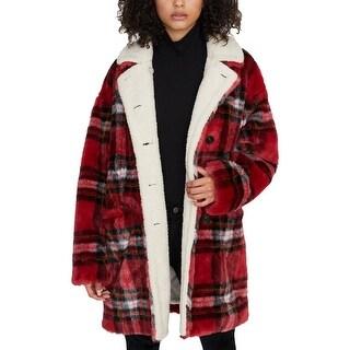 Link to Sanctuary Womens Sierra Faux Fur Coat Winter Cold Weather - Red - XXS Similar Items in Women's Outerwear