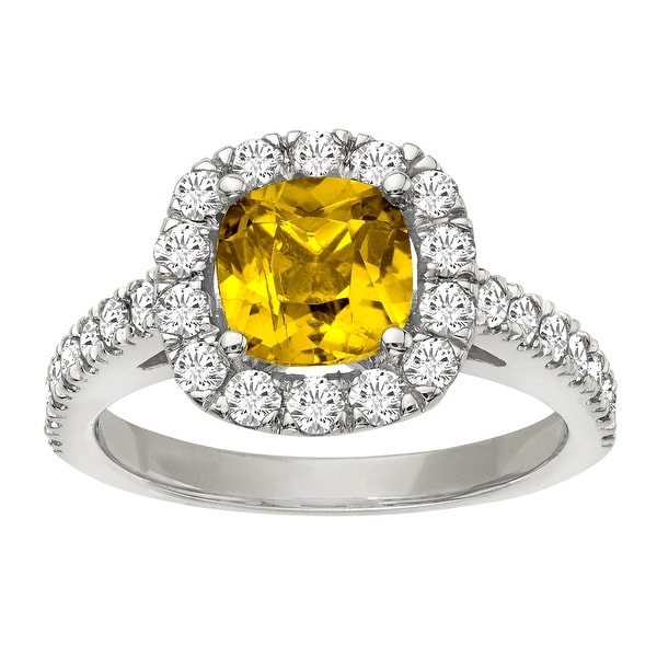2 1/5 ct Yellow Sapphire and 1 ct Diamond Ring in 14K White Gold