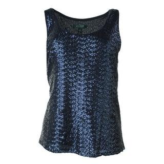 Lauren Ralph Lauren Womens Sheer Sequined Blouse - 10