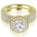 1.60 cttw. 14K Yellow Gold Halo Round Cut Diamond Bridal Set - Thumbnail 0