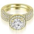 2.10 cttw. 14K Yellow Gold Halo Round Cut Diamond Bridal Set - Thumbnail 0