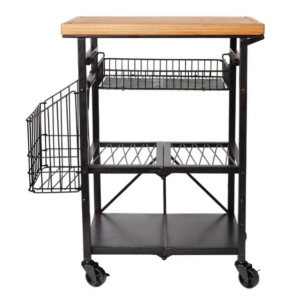 Artesa Folding Kitchen Cart with Baskets