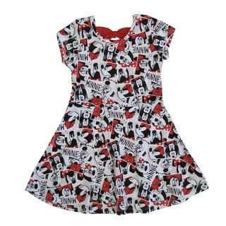 Disney Little Girls Red White Minnie Mouse All Over Printed Dress 2-4T