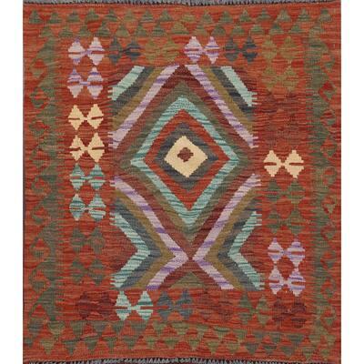 "Reversible Southwest Kilim Oriental Area Rug Hand-Woven Wool Carpet - 3'4"" x 3'3"" Square"