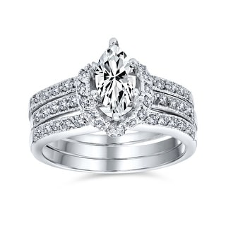 Link to 2CT Solitaire Marquise AAA CZ Engagement Ring Set Sterling Silver Similar Items in Rings