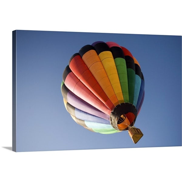 """""""Low angle view of a hot air balloon in blue sky, California, USA"""" Canvas Wall Art"""