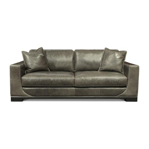 Cassidy Italian Full Grain Leather Mid-Century Modern Sofa. Opens flyout.