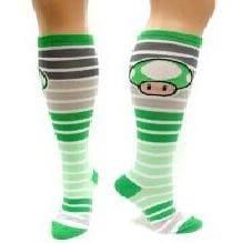 Nintendo Green 1-Up Mushroom Juniors White Striped Knee High Socks
