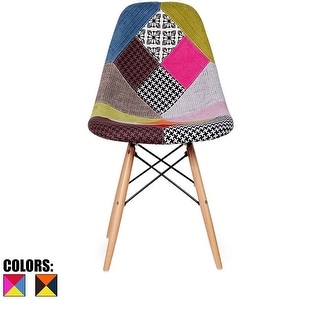 2xhome Modern Eames Side Dining ChairPatchwork Fabric with Natural Wood Legs
