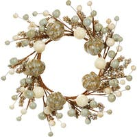 "Fall Berry Pumpkin Candlering 4.5""-Ivory/Green"