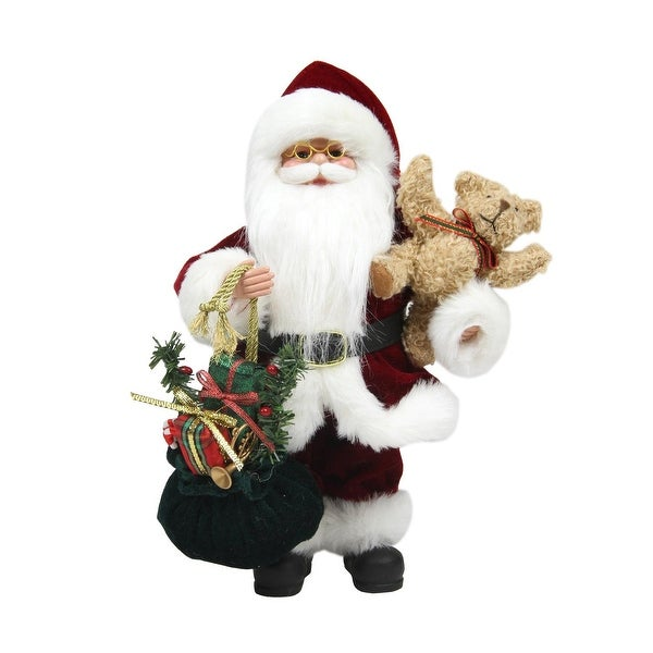 """12"""" Santa Claus in Traditional Red Suit Holding a Teddy Bear and Gift Bag Christmas Figure"""