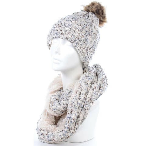 Womens Scarf and Hat Set Winter Beanie Hat Infinity Scarf Knit Scarfs for Women
