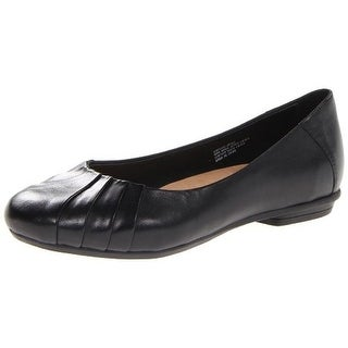 Earth Womens Bellwether Leather Pleated Ballet Flats