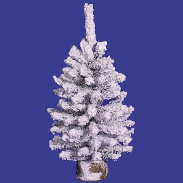 "18"" Flocked Mini Pine 169T Wood Base"