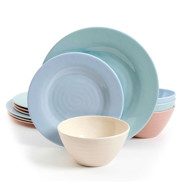 Gibson Home Pastel Burst 12pc Melamine Dinnerware Set in Mixed Colors