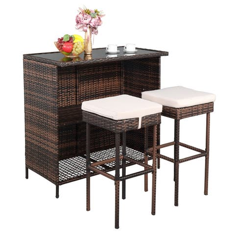 Outdoor Brown 3-Piece Rattan Wicker Bar Set with Beige Seat Cushions