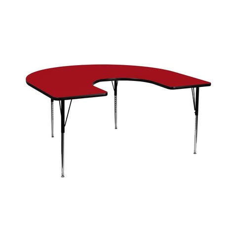 Offex 60''W x 66''L Horseshoe Activity Table with Red Thermal Fused Laminate Top and Standard Height Adjustable Legs