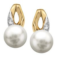6mm Freshwater Pearl Earrings with Diamonds in 10K Gold